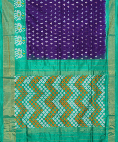 Purple Cyan Handloom Ikkat Silk Saree