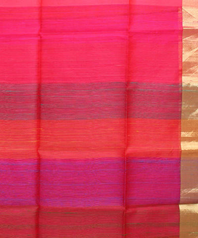 Cherry Pink Red Handwoven Silk Saree