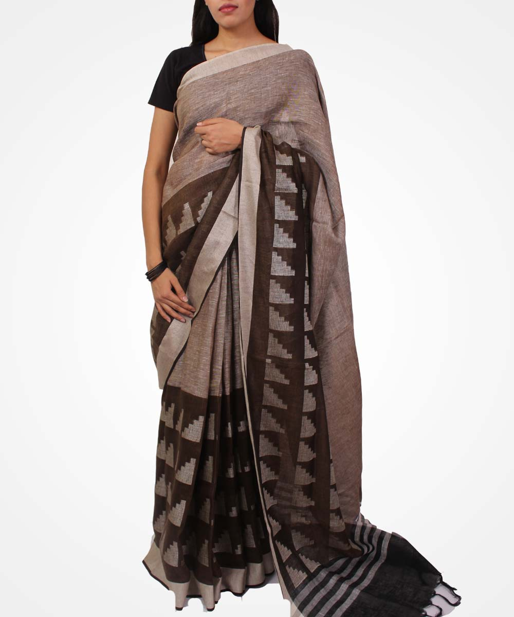 Handwoven Peanut And Mocha Brown Linen Saree