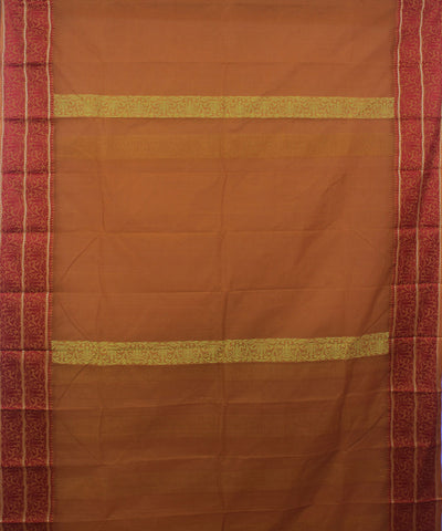 Bengal Handloom Ochre Yellow Tangail Saree