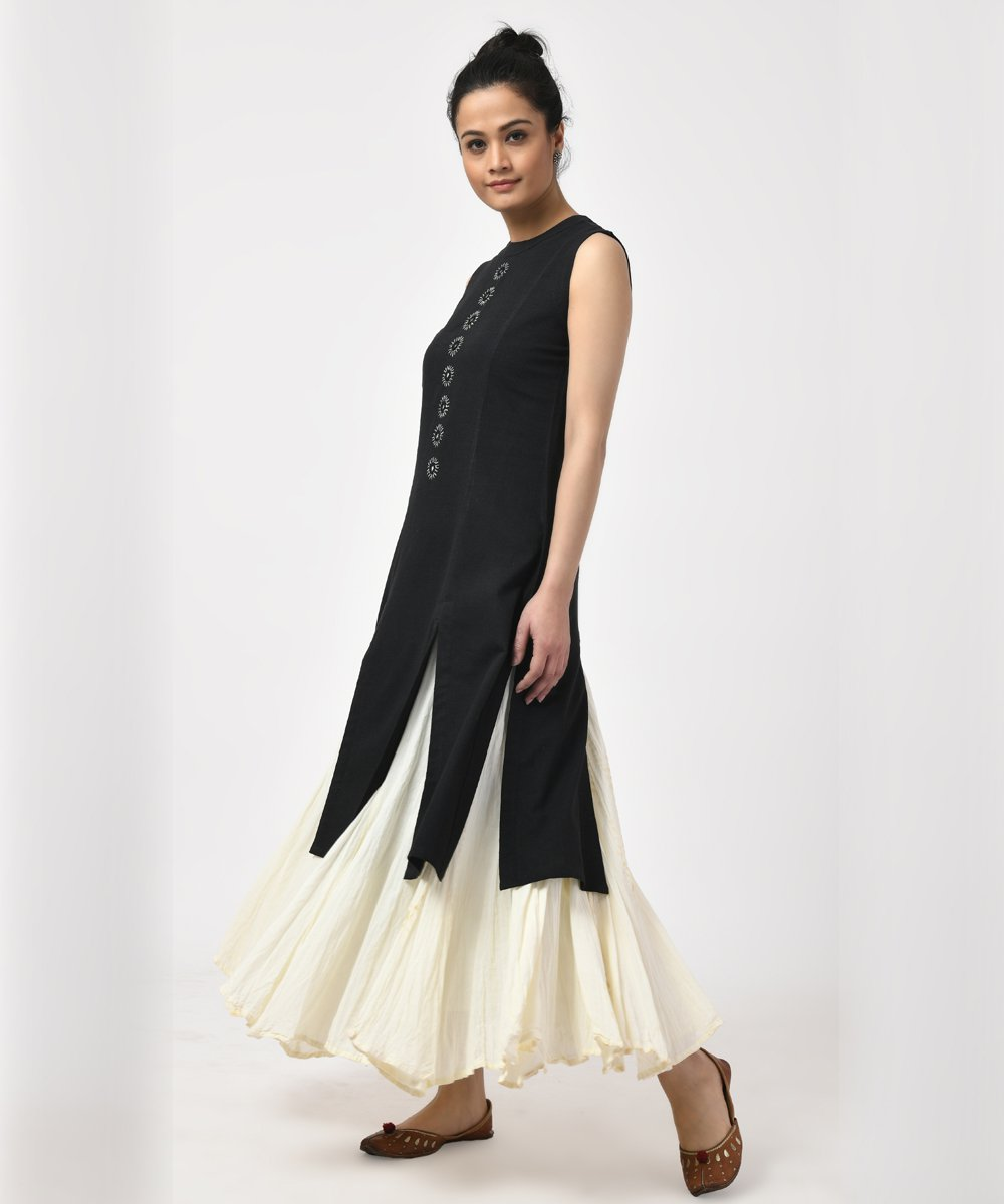 Black Sleeveless Cotton Kurti