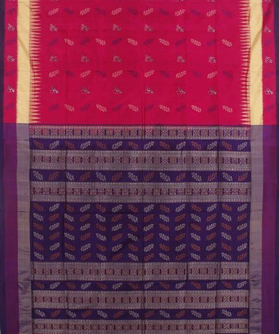 Bright Pink Handwoven Bomkai Silk Saree