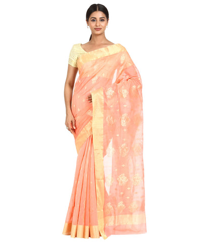Peach Handwoven Chanderi Sico Saree