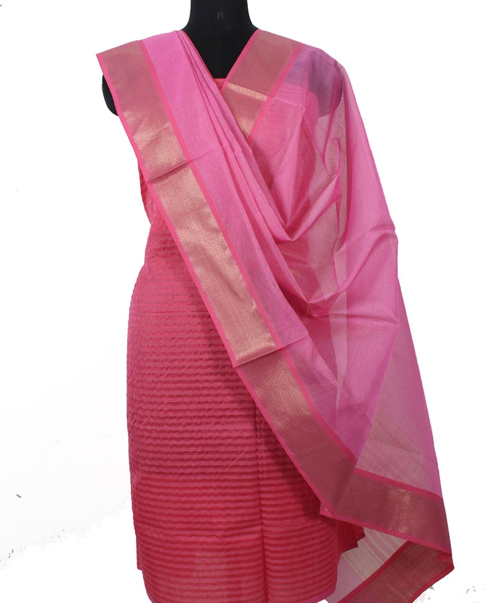 Maheshwari Punch and Pink Dress Material