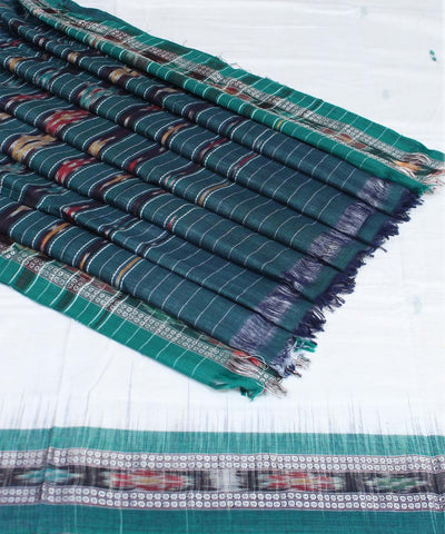 White Green Handloom Sambalpuri Cotton Saree
