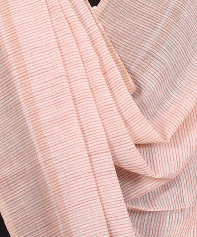 Handwoven Blush Peach Cotton Dupatta