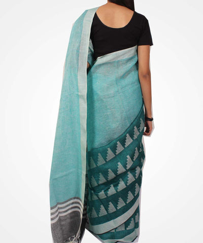 Handwoven Blue Green Linen Saree