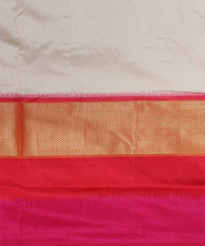 Handwoven Maroon White Ikat Silk Saree