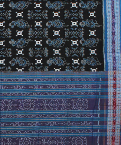 Black Blue Sambalpuri Handloom Cotton Saree