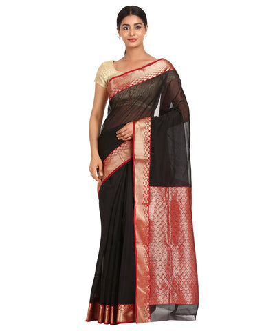 Chanderi Black and Maroon Handloom Sico Saree