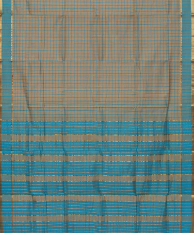 Grey Mangalagiri Handwoven Cotton Saree