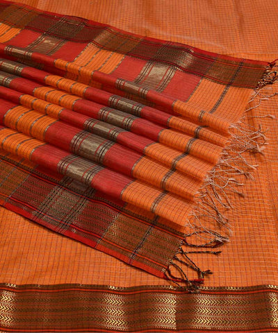 Maheshwari Handwoven Sico Orange Saree