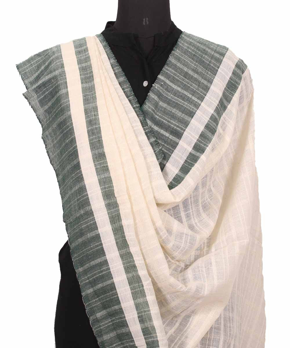 Handwoven Ivory Cotton Dupatta