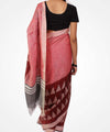 Handwoven Brick And Blush Red Linen Saree