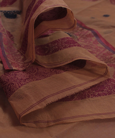 Bengal Handloom Brown Tangail Cotton Saree