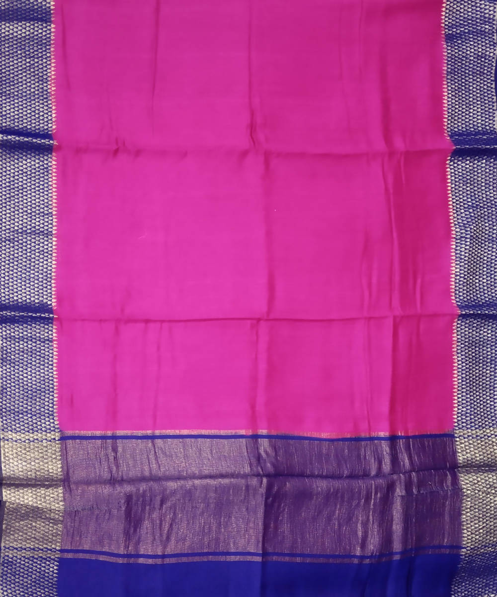 Banarasi Magenta Pink and Blue Handloom Silk Saree