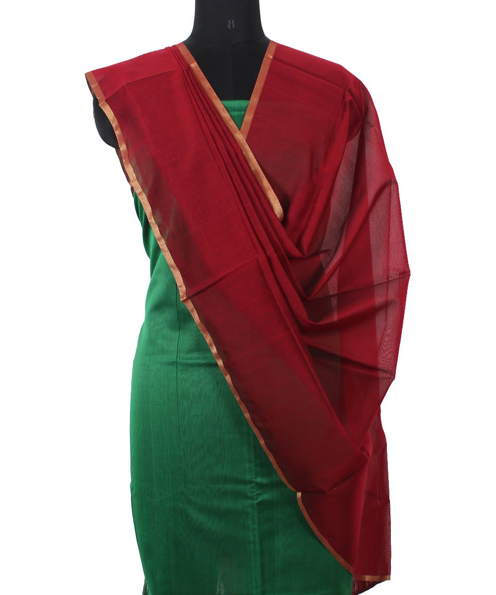 Maheshwari Green and Maroon Dress Material