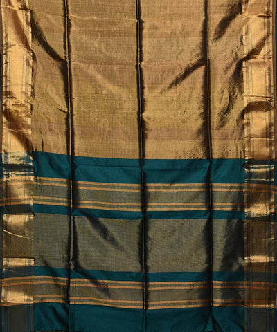 Maheshwari Handwoven Golden Green Sico Saree