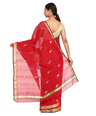 Red with Parrot Butta Handloom Chanderi Saree
