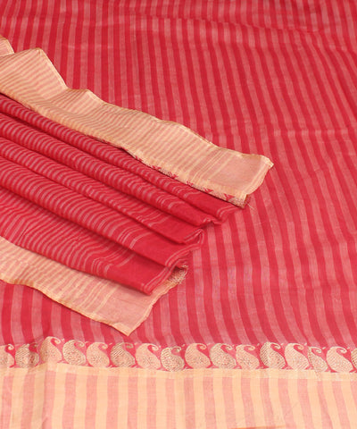 Bright Red Bengal Handloom Tant Cotton Saree