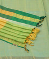 Mint green Tussar Silk Handwoven Saree