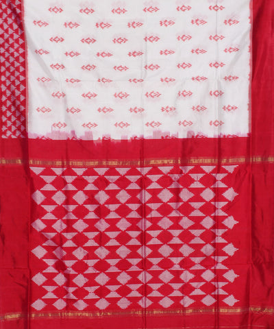 White Red Handloom Ikkat Silk Saree