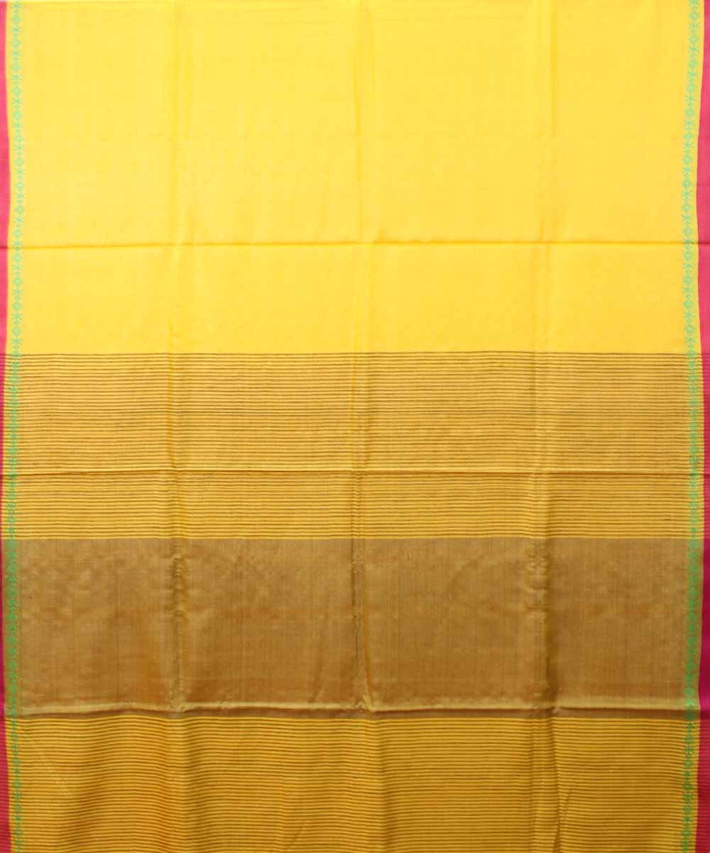 Yellow Tussar Silk Handwoven Saree