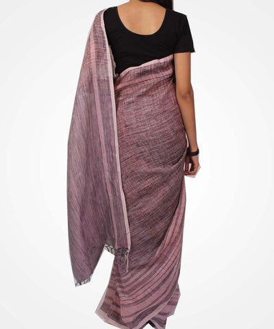 Handwoven Peach And Grape Linen Saree