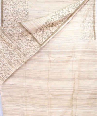 Cream and Brown Handwoven Print Tussar Saree