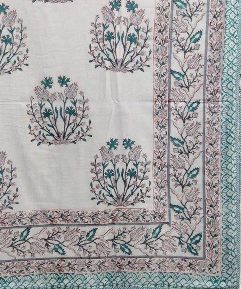 Green Handblock Prints on White Cotton Double Dohar