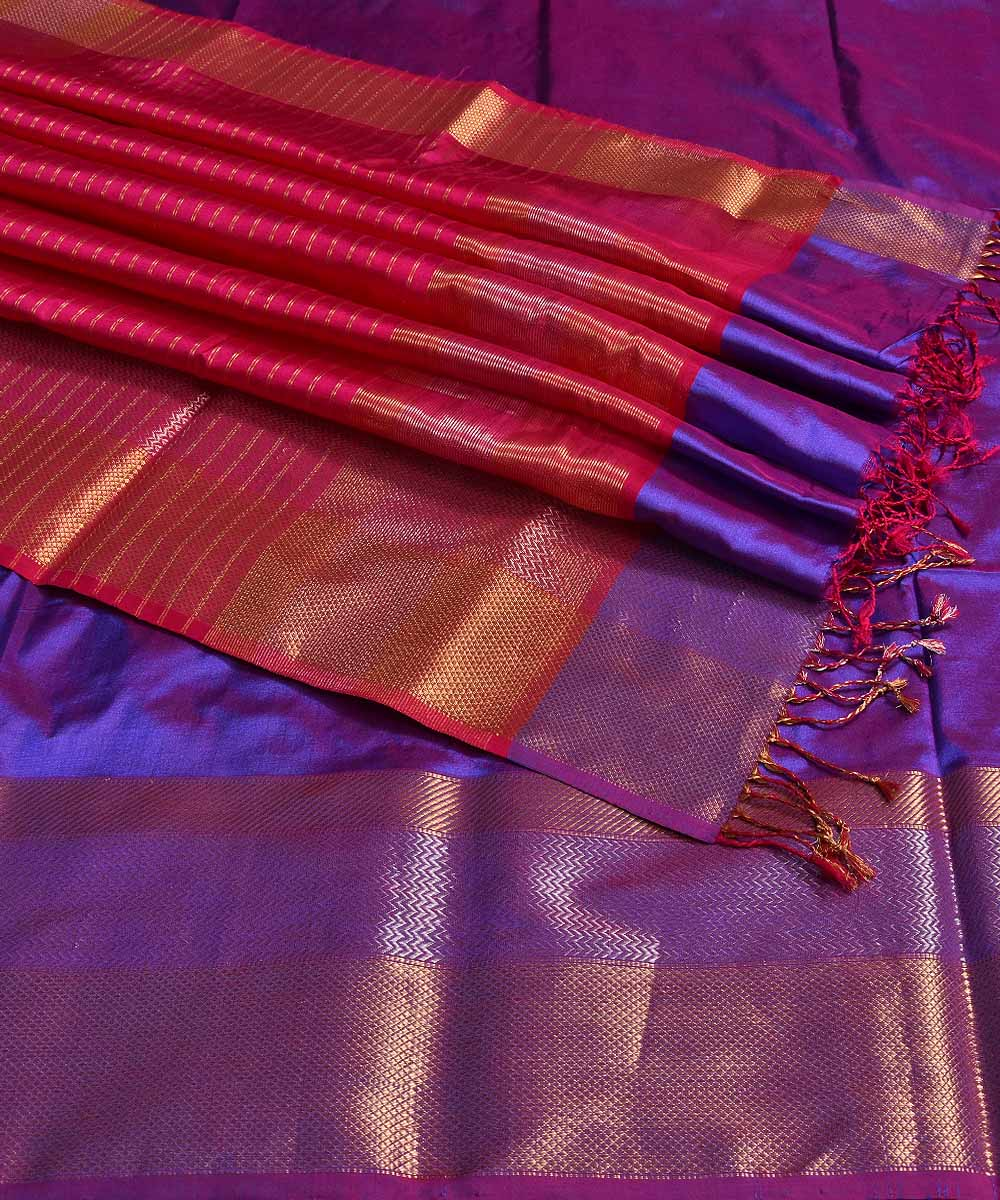 Maheshwari Handwoven Purple Silk Saree
