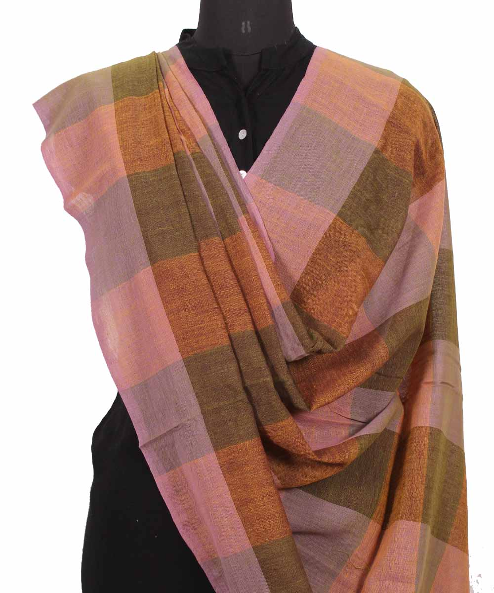 Handwoven Blush And Brown Cotton Dupatta