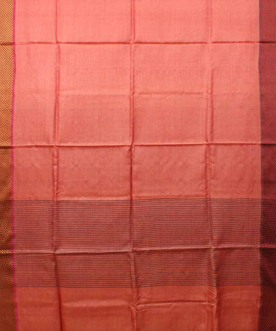 Peach Tussar Silk Handwoven Saree