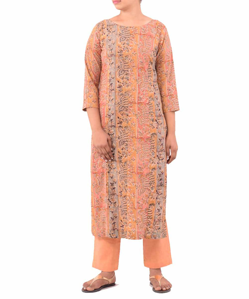 Beige and Peach Hand Printed Kurti