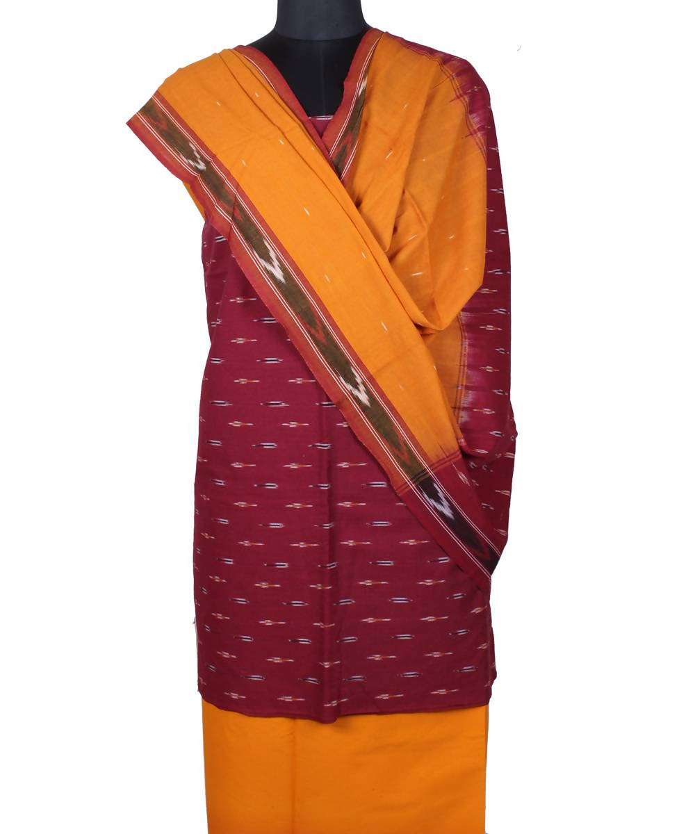 Maroon handloom pochampally ikkat cotton suit