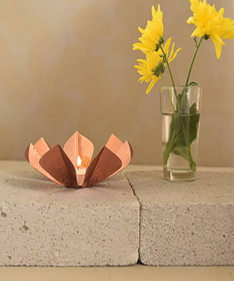 Handmade copper sepiole tea light