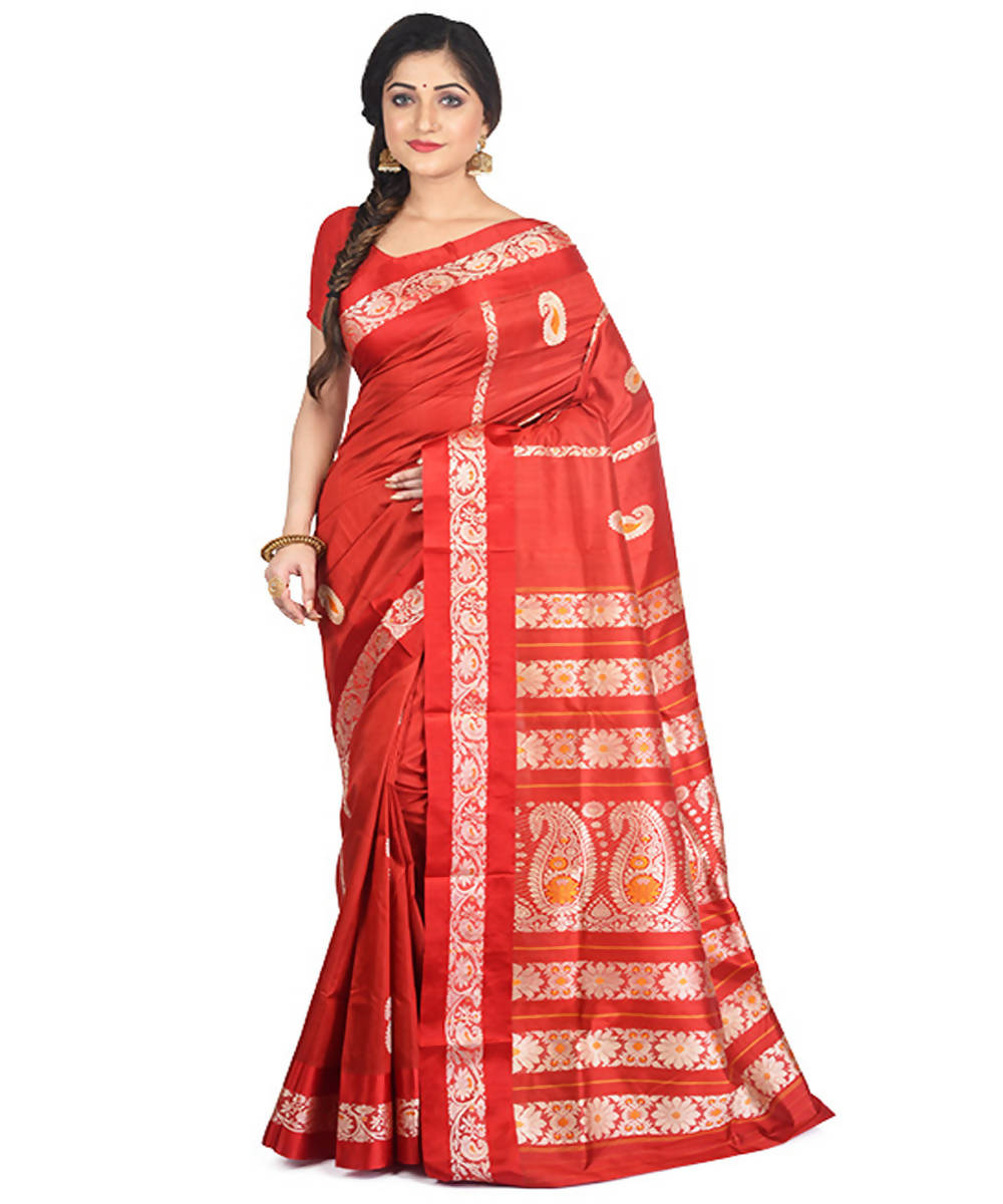 Red handloom garad silk saree