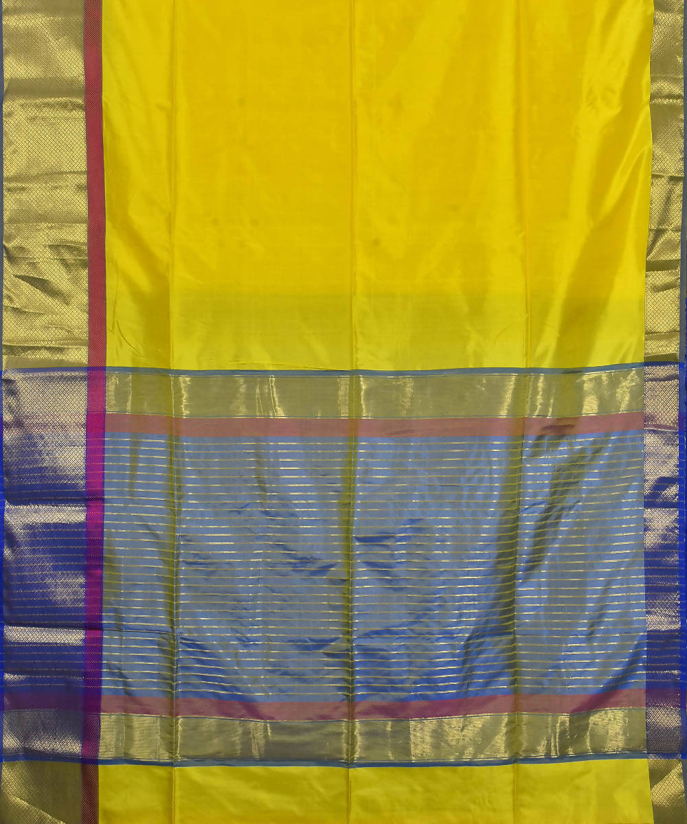 Handloom Yellow Maheshwari Silk Saree
