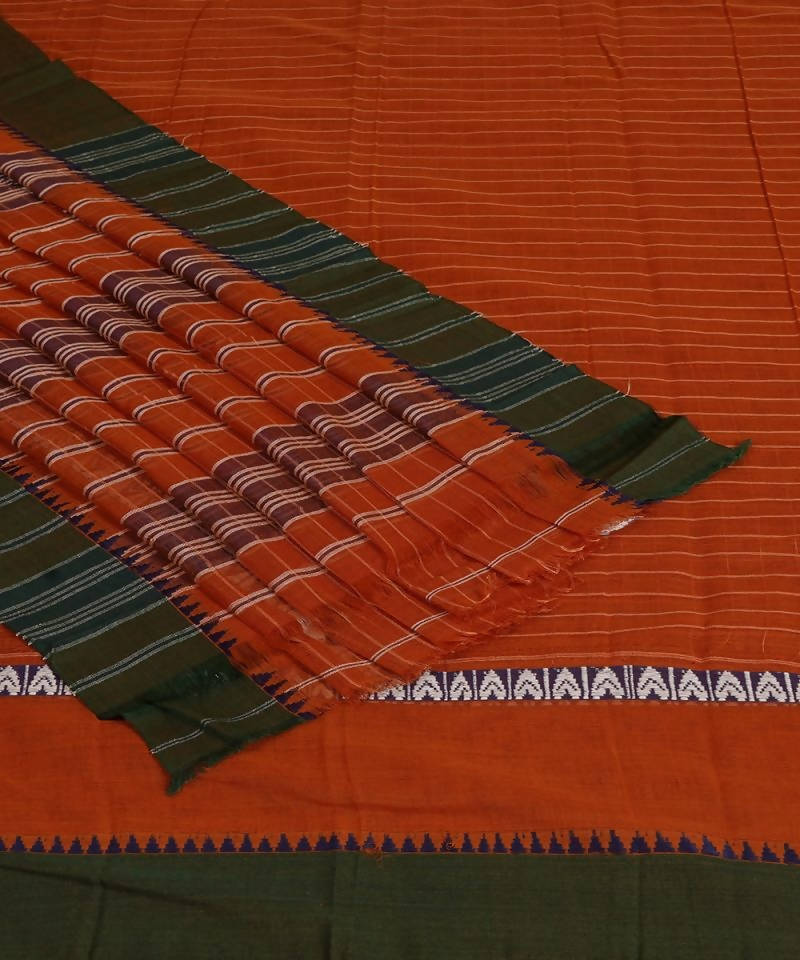 Orange Handloom Narayanpet Cotton Saree