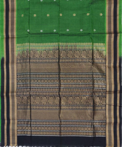 Green black Handwoven Silk Cotton Saree