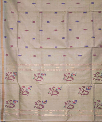 light grey Handwoven Cotton Jamdani Saree
