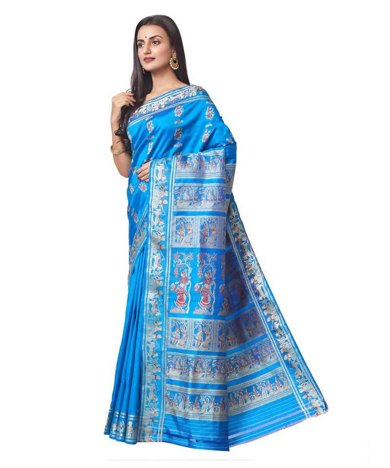 Biswa bangla handloom blue baluchari silk saree