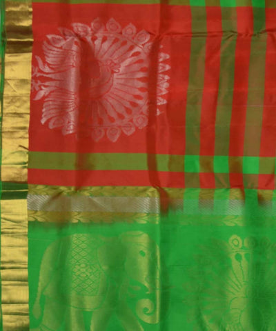 Red Green Handloom Soft Silk Saree