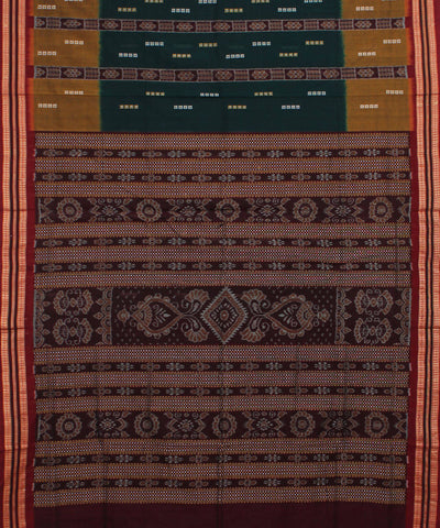 Handloom Bomkai Green Maroon Cotton Saree