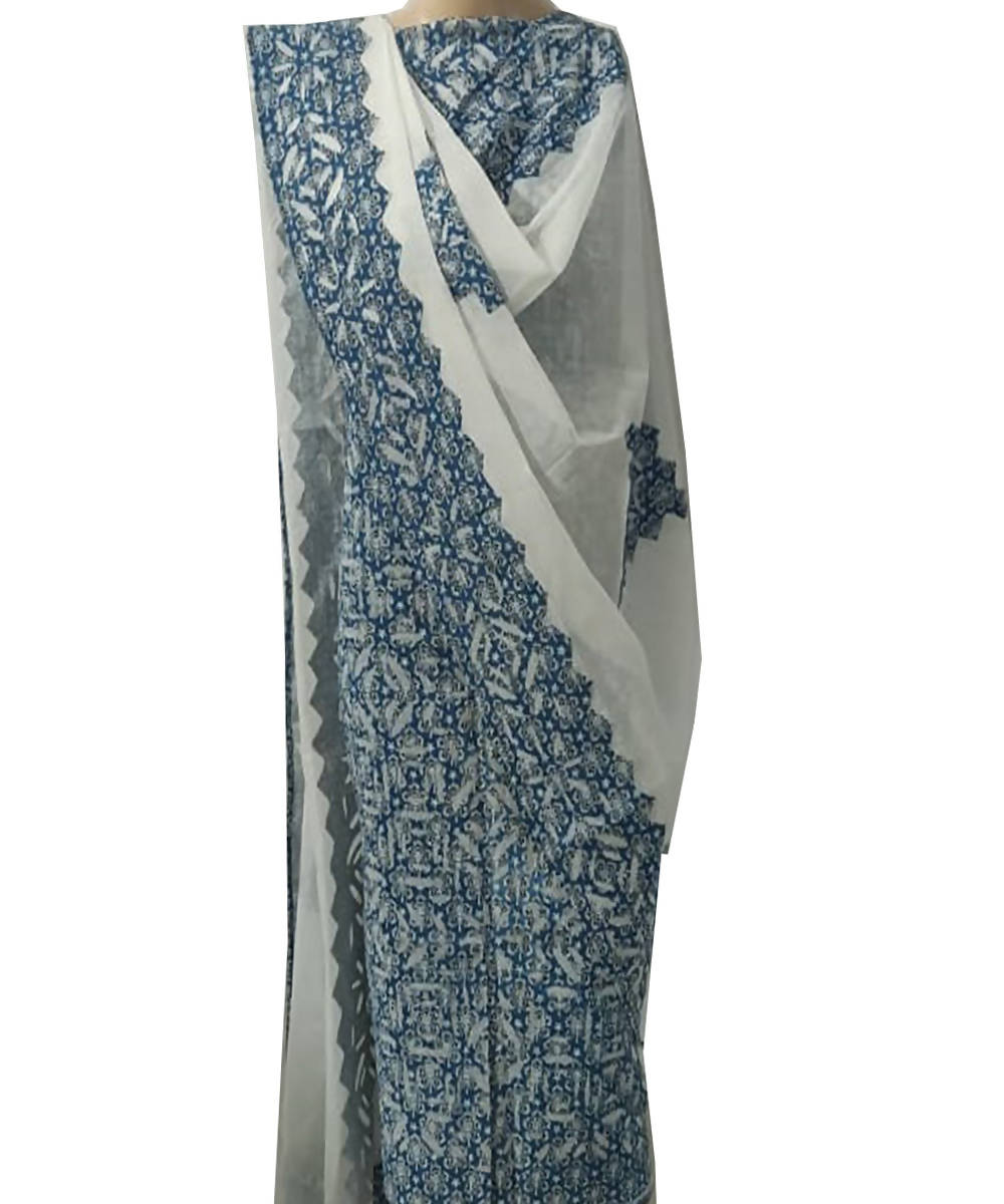 ajrakh handblock print applique work cotton Blue top dupatta suit set