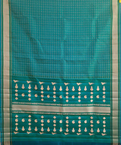 Turquoise Green Handloom Pooja Checks Molakalmuru Silk Saree