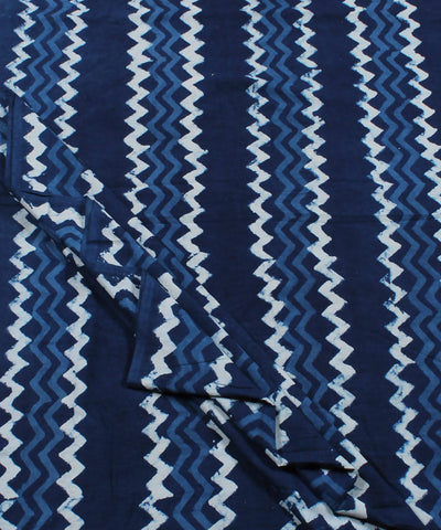 Dabu Stripe Printed Indigo Cotton Fabric