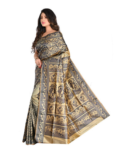 Handloom Black Beige Baluchari Silk Saree