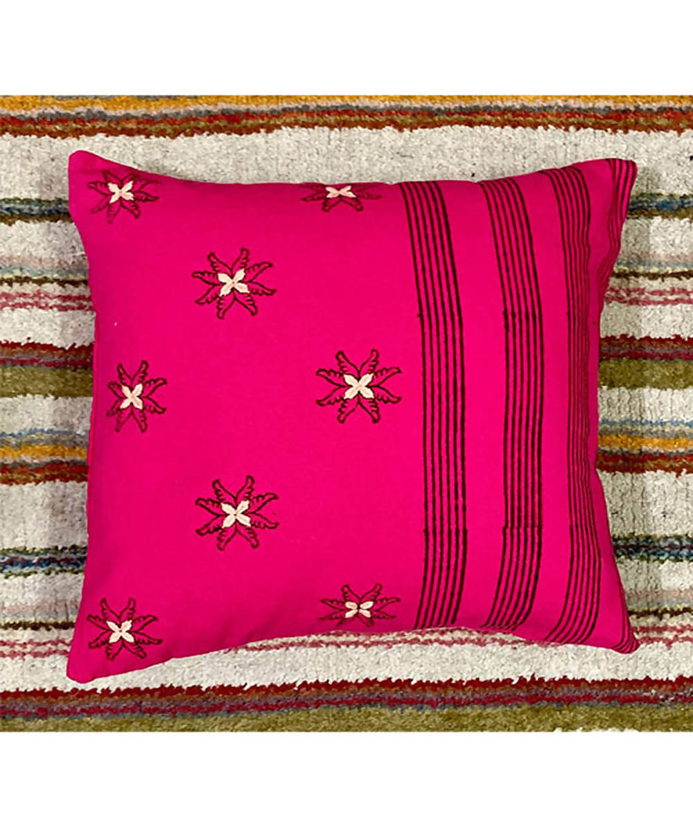 Pink handblock printing with hand embroidery cushion cover