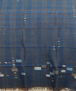 Jamdani Indigo Blue Handwoven Cotton Stole